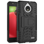 Dual Layer Rugged Tough Case Stand for Motorola Moto E4 - Black